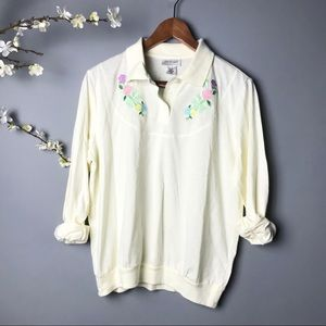 Vintage #278 Floral Long Sleeve Blouse Top Shirt